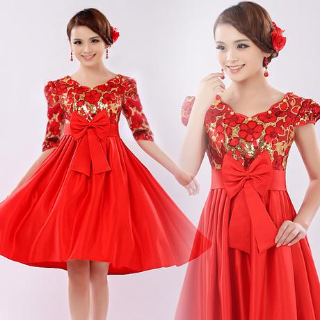 红色敬酒服,结婚礼服