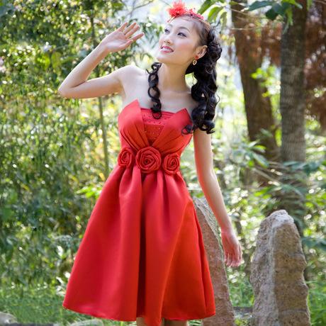 短款礼服,红色