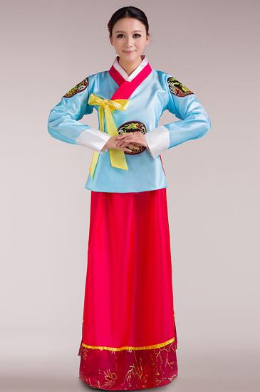 韩国民族服装,蓝色款
