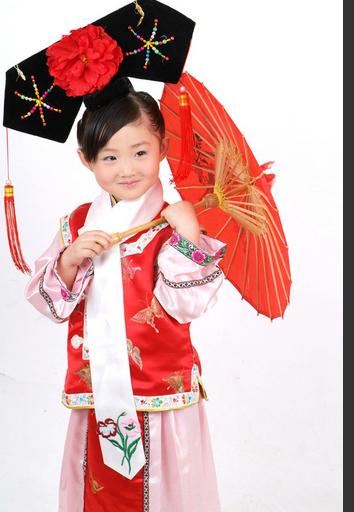 儿童的格格服装,红色