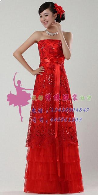 长款大红色礼服