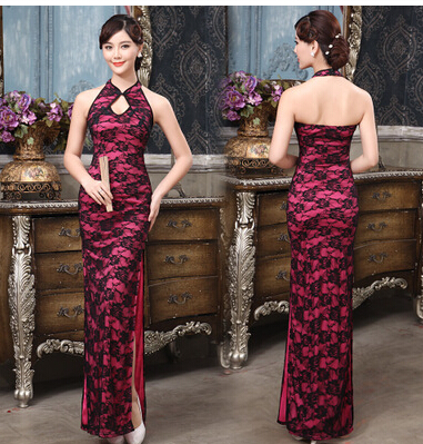 红色黑色长款旗袍