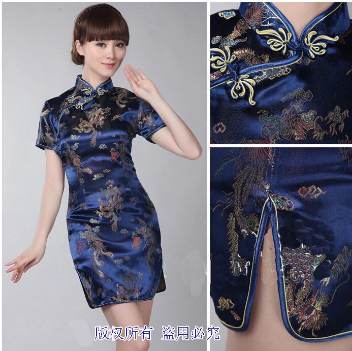 深蓝色的短款旗袍