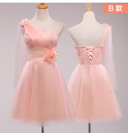 粉红短款单肩礼服