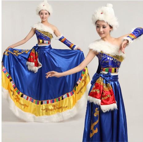 蓝色厚款藏族舞蹈服