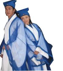 蓝色的梁山伯和祝英台服饰