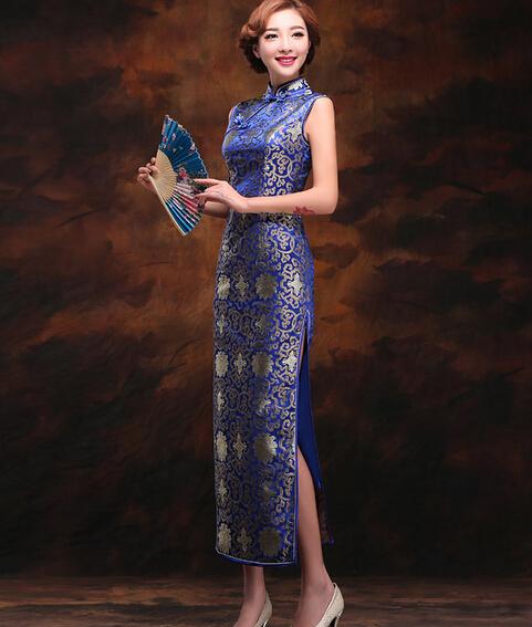 女士蓝色长款典雅旗袍