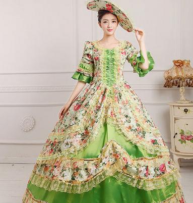 绿色泛花欧式宫廷服