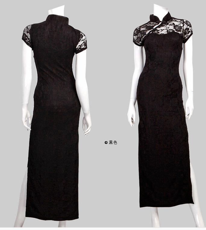 黑色长款旗袍