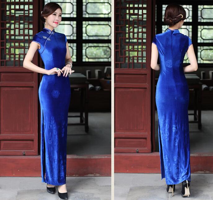 蓝色民国风旗袍
