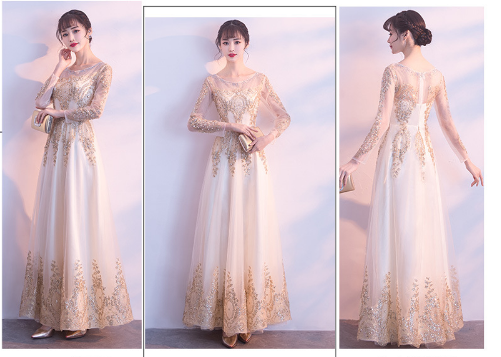 金色偏香槟的长款礼服